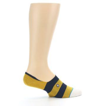 Image of Gold Navy Stripe Men's No-Show Socks (side-1-24)
