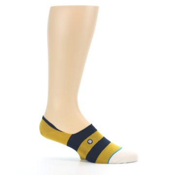 Image of Gold Navy Stripe Men's No-Show Socks (side-1-25)