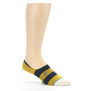 Image of Gold Navy Stripe Men's No-Show Socks (side-1-26)