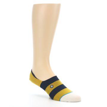 Image of Gold Navy Stripe Men's No-Show Socks (side-1-27)