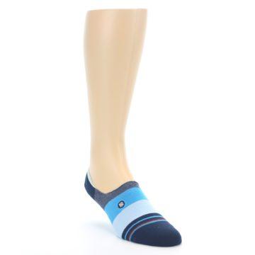 Image of Navy Blue Grey Stripe Men's No-Show Socks (side-1-front-02)