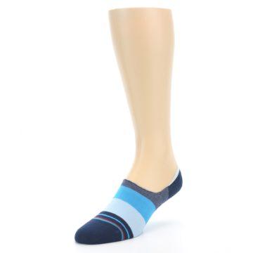 Image of Navy Blue Grey Stripe Men's No-Show Socks (side-2-front-08)
