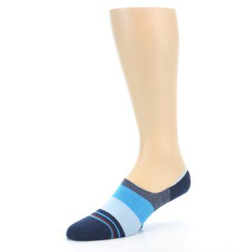 Image of Navy Blue Grey Stripe Men's No-Show Socks (side-2-09)