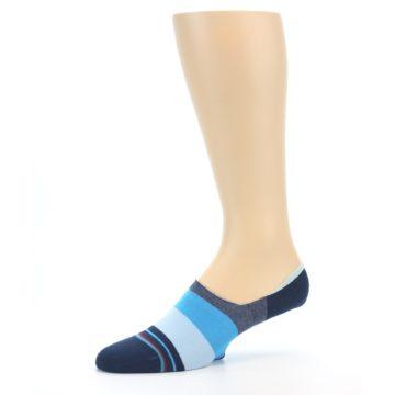 Image of Navy Blue Grey Stripe Men's No-Show Socks (side-2-10)