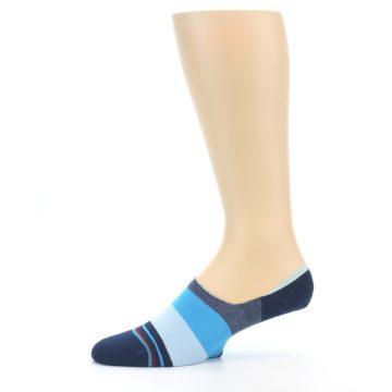 Image of Navy Blue Grey Stripe Men's No-Show Socks (side-2-11)