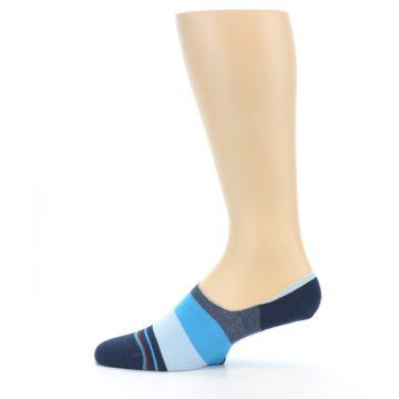 Image of Navy Blue Grey Stripe Men's No-Show Socks (side-2-12)