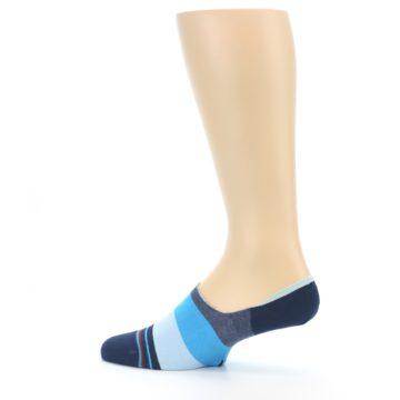 Image of Navy Blue Grey Stripe Men's No-Show Socks (side-2-13)