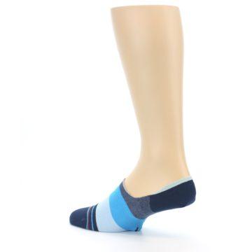 Image of Navy Blue Grey Stripe Men's No-Show Socks (side-2-back-14)