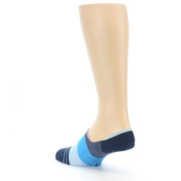 Image of Navy Blue Grey Stripe Men's No-Show Socks (side-2-back-15)