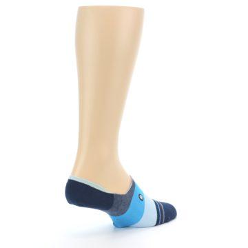 Image of Navy Blue Grey Stripe Men's No-Show Socks (side-1-back-22)