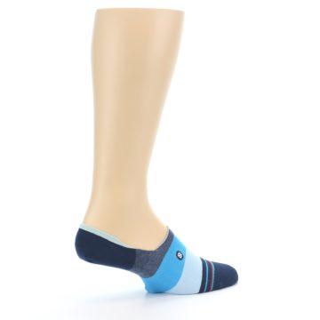 Image of Navy Blue Grey Stripe Men's No-Show Socks (side-1-23)