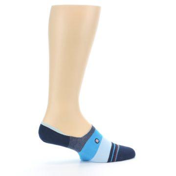 Image of Navy Blue Grey Stripe Men's No-Show Socks (side-1-24)