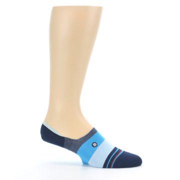 Image of Navy Blue Grey Stripe Men's No-Show Socks (side-1-25)