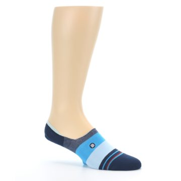 Image of Navy Blue Grey Stripe Men's No-Show Socks (side-1-26)