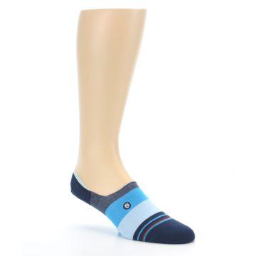 Image of Navy Blue Grey Stripe Men's No-Show Socks (side-1-27)