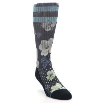 Image of Black Blue Green Floral Men's Casual Socks (side-1-front-02)