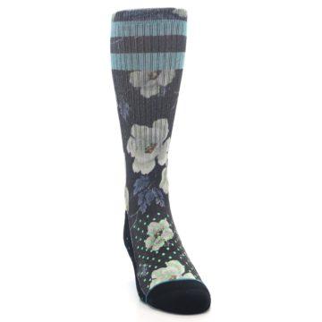 Image of Black Blue Green Floral Men's Casual Socks (side-1-front-03)