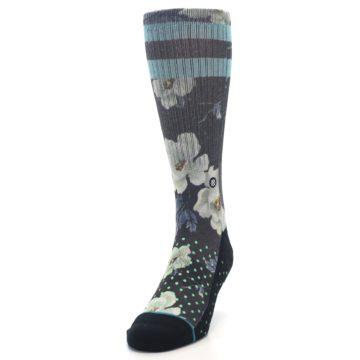Image of Black Blue Green Floral Men's Casual Socks (side-2-front-06)