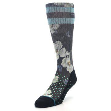 Image of Black Blue Green Floral Men's Casual Socks (side-2-front-07)