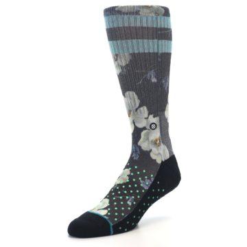 Image of Black Blue Green Floral Men's Casual Socks (side-2-front-08)