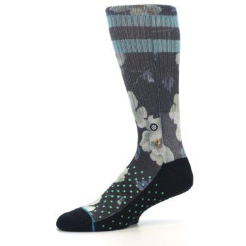 Image of Black Blue Green Floral Men's Casual Socks (side-2-10)