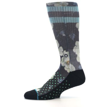 Image of Black Blue Green Floral Men's Casual Socks (side-2-11)