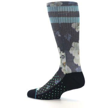 Image of Black Blue Green Floral Men's Casual Socks (side-2-13)