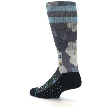 Image of Black Blue Green Floral Men's Casual Socks (side-2-back-14)