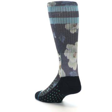 Image of Black Blue Green Floral Men's Casual Socks (side-2-back-15)
