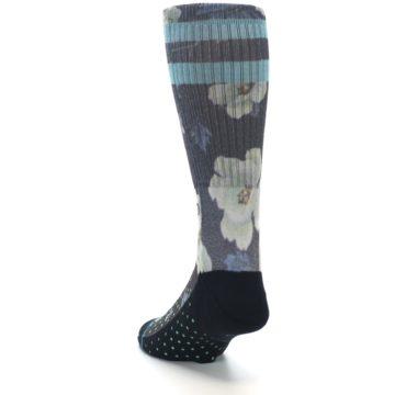 Image of Black Blue Green Floral Men's Casual Socks (side-2-back-16)