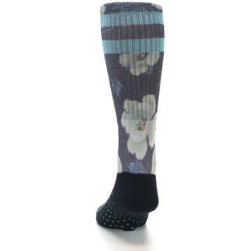 Image of Black Blue Green Floral Men's Casual Socks (back-17)