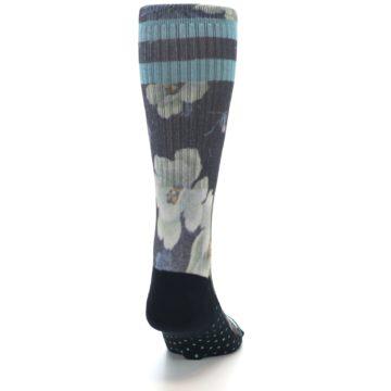 Image of Black Blue Green Floral Men's Casual Socks (back-19)