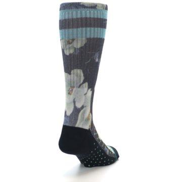 Image of Black Blue Green Floral Men's Casual Socks (side-1-back-20)