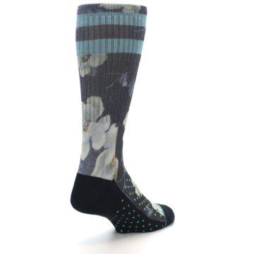 Image of Black Blue Green Floral Men's Casual Socks (side-1-back-21)
