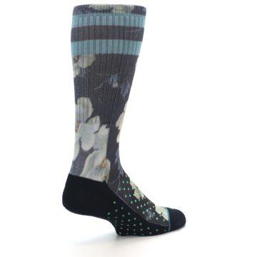 Image of Black Blue Green Floral Men's Casual Socks (side-1-back-22)