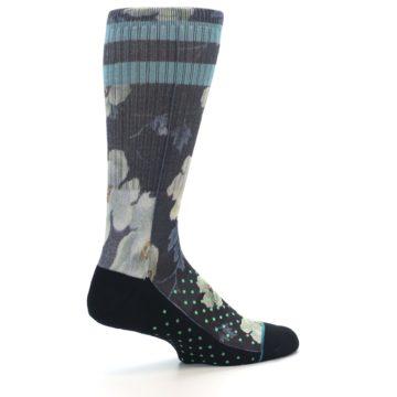 Image of Black Blue Green Floral Men's Casual Socks (side-1-23)