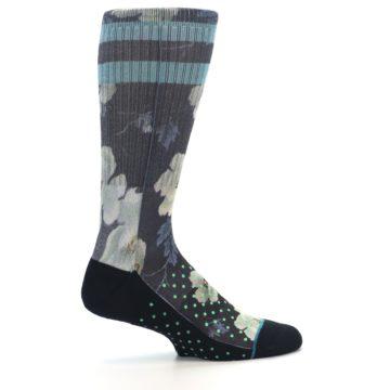 Image of Black Blue Green Floral Men's Casual Socks (side-1-24)