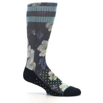 Image of Black Blue Green Floral Men's Casual Socks (side-1-25)