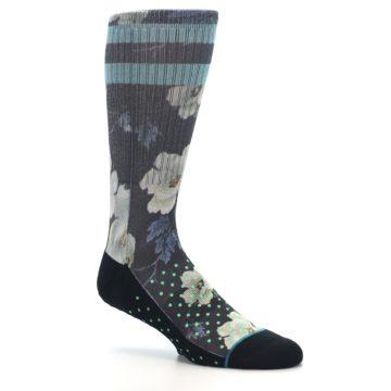 Image of Black Blue Green Floral Men's Casual Socks (side-1-26)