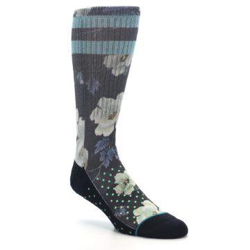 Image of Black Blue Green Floral Men's Casual Socks (side-1-27)