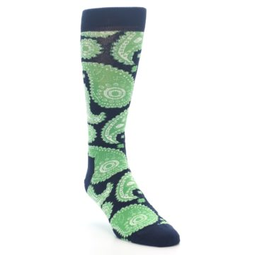 Image of Navy Green Paisley Men's Dress Socks (side-1-front-02)