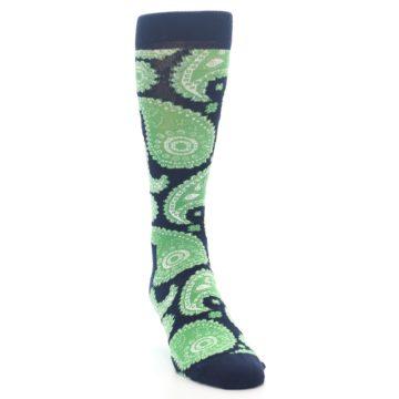 Image of Navy Green Paisley Men's Dress Socks (side-1-front-03)