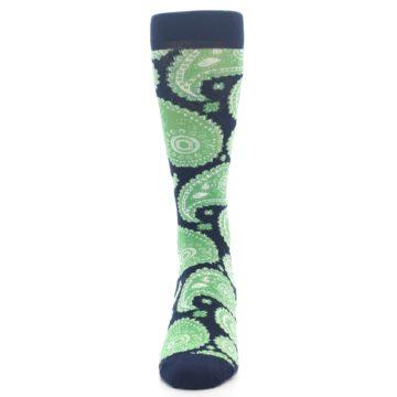 Image of Navy Green Paisley Men's Dress Socks (front-05)
