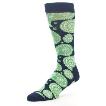 Image of Navy Green Paisley Men's Dress Socks (side-2-09)