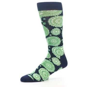 Image of Navy Green Paisley Men's Dress Socks (side-2-10)