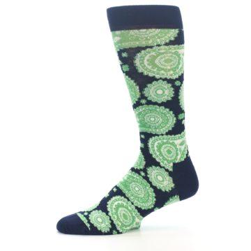 Image of Navy Green Paisley Men's Dress Socks (side-2-11)