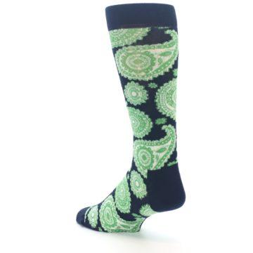 Image of Navy Green Paisley Men's Dress Socks (side-2-back-15)
