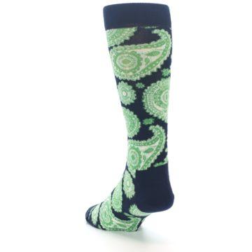 Image of Navy Green Paisley Men's Dress Socks (side-2-back-16)