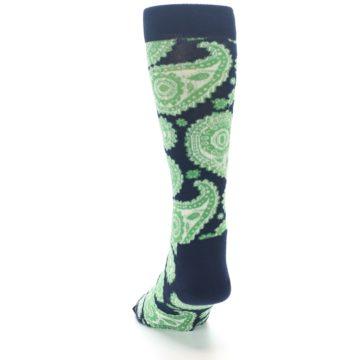 Image of Navy Green Paisley Men's Dress Socks (back-17)