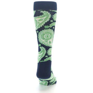 Image of Navy Green Paisley Men's Dress Socks (back-19)
